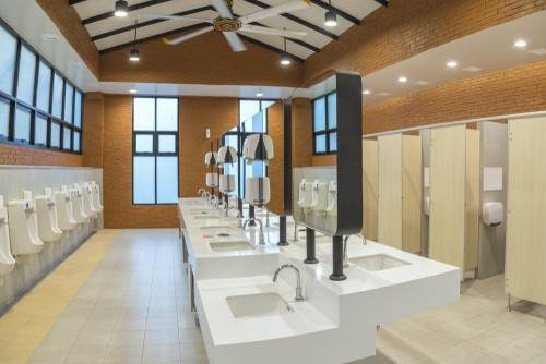 Bathrooms in commercial buildings require extensive plumbing work.